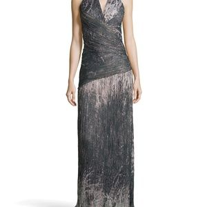 Halston Heritage Moss Halter Printed Voile Gown